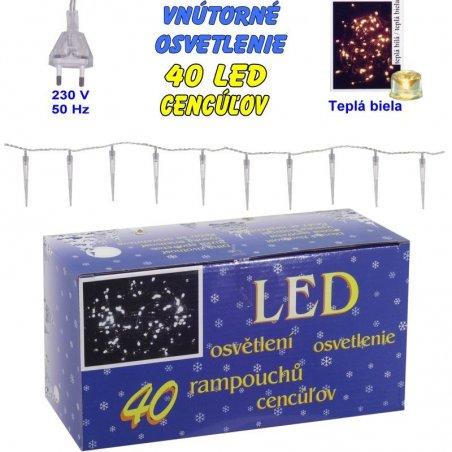 Vnútorné osvetlenie - 40 LED cencúľov - Biela teplá