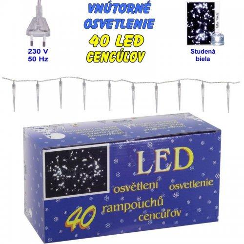Vnútorné osvetlenie - 40 LED cencúľov - Biela studená