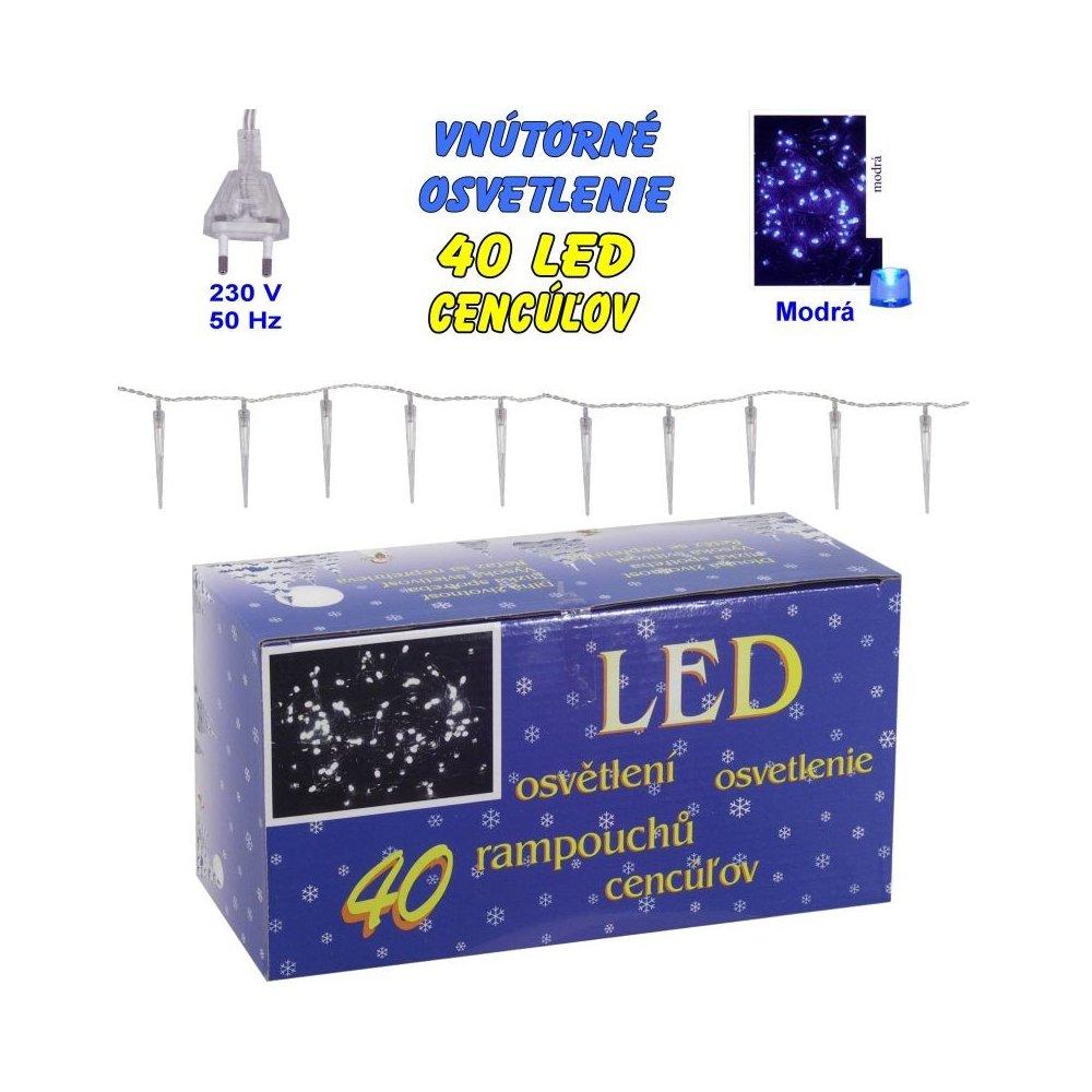 Vnútorné osvetlenie - 40 LED cencúľov - Modrá