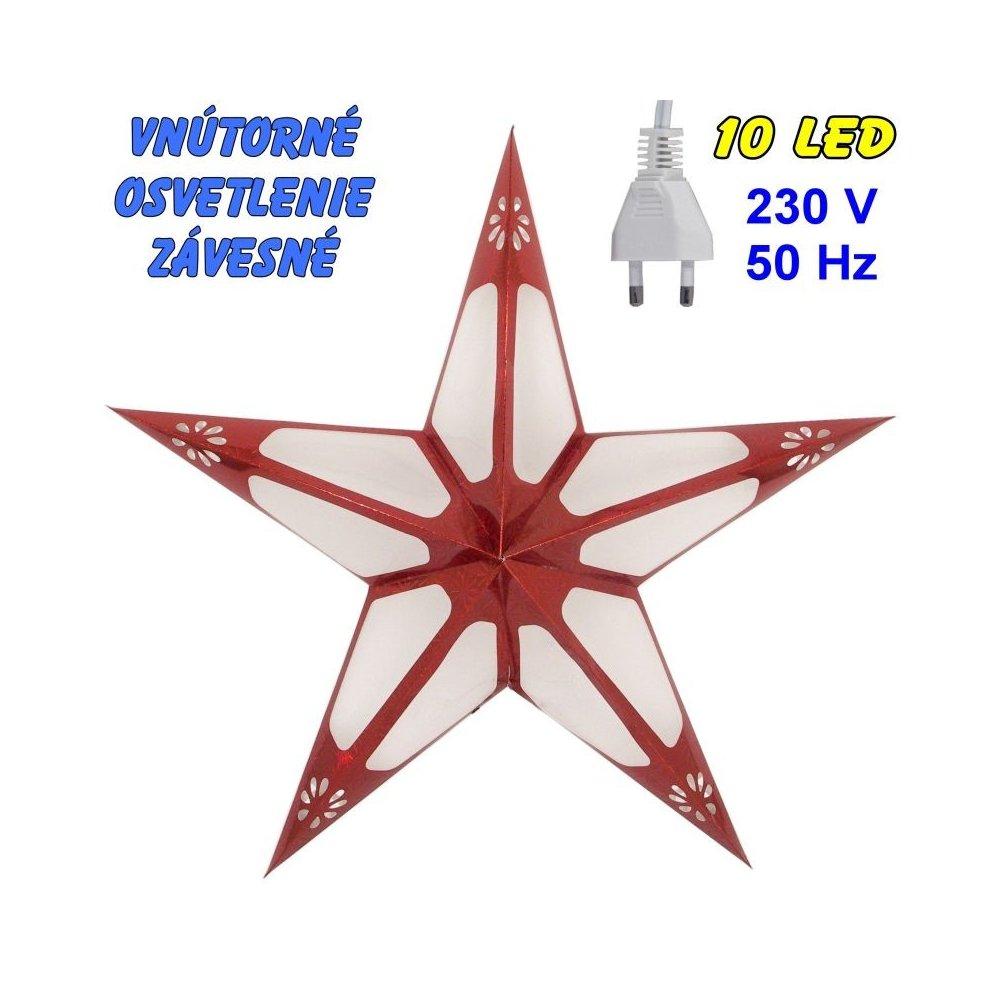 Vnútorné závesné osvetlenie - Hviezda - červená