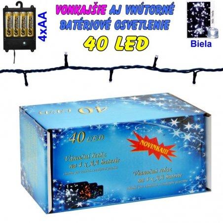 LED-40 žiaroviek na batérie biele