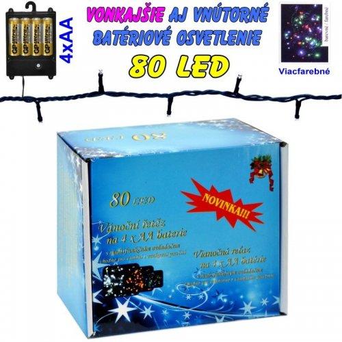 LED-80 žiaroviek na batérie farebné