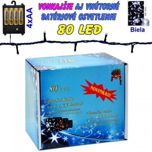 LED-80 žiaroviek na batérie biele