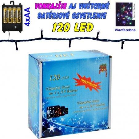 LED-120 žiaroviek na batérie farebné