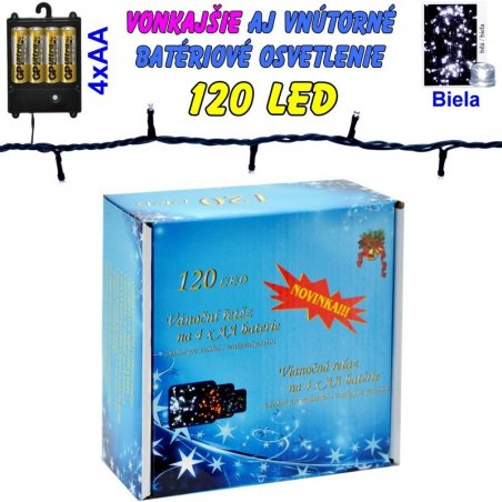 LED-120 žiaroviek na batérie biele