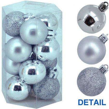 Vianočné nerozbitné gule 12 ks - fialové