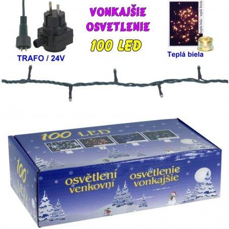LED-100žiaroviek - 24V/trafo - Biela teplá