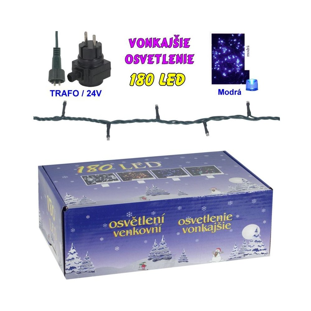 LED-180žiaroviek - 24V/trafo - Modrá