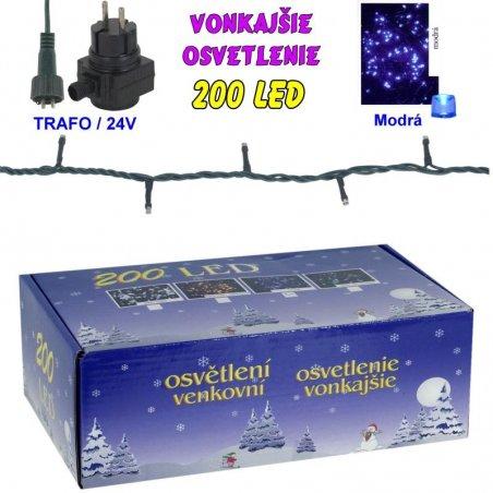 LED-200žiaroviek - 24V/trafo - Modrá