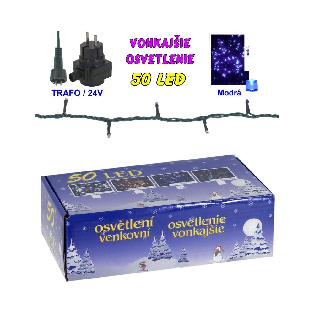 LED-50žiaroviek - 24V/trafo - Viacfarebná
