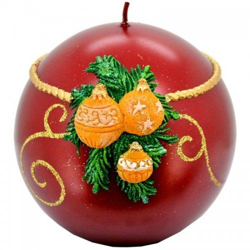 Sviečka guľa vianočná - Červená
