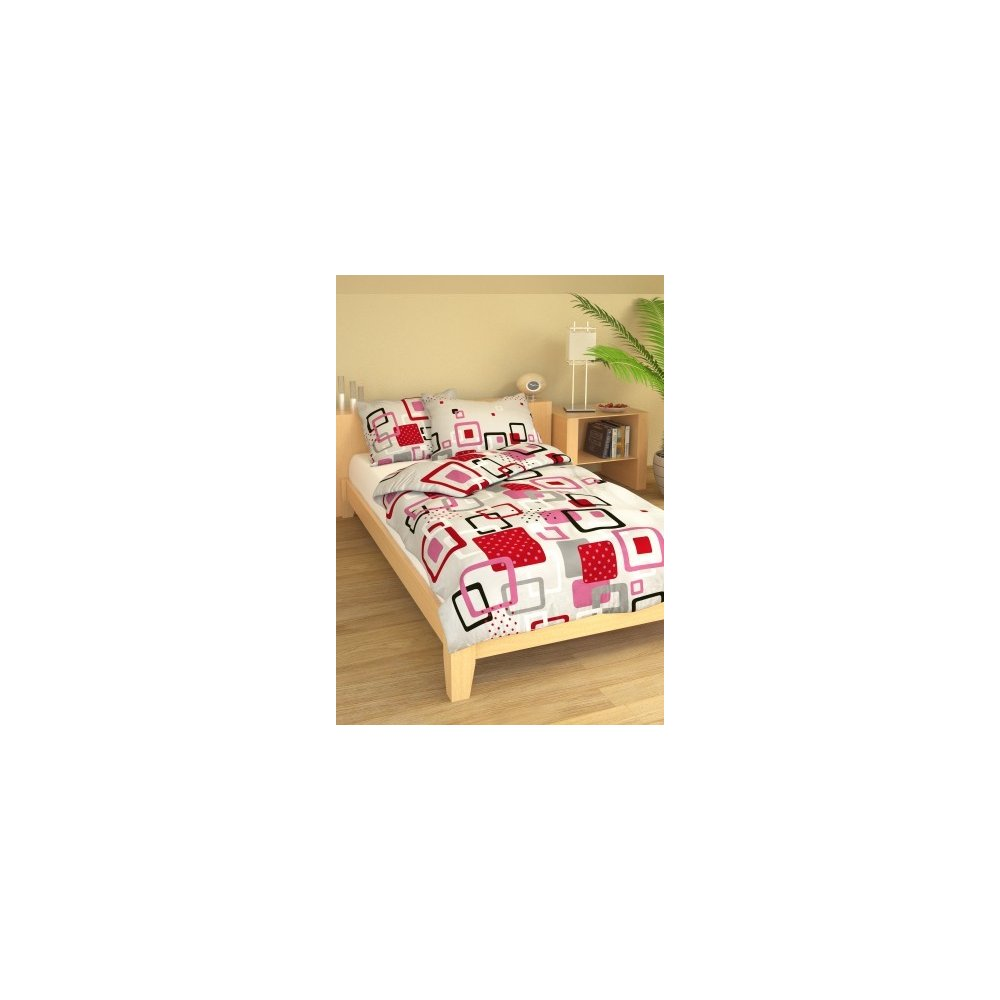 Posteľné návliečky 200 x 220 cm - GEO šedočervené