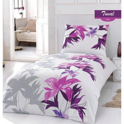 Obliečky hladká bavlna -Tuval lila 140 x 200 cm
