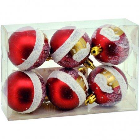 Vianočné fosforeskujúce gule 6ks - Červené