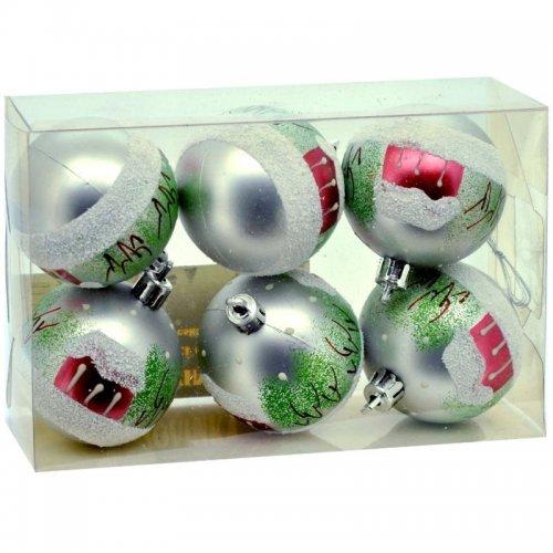 Vianočné fosforeskujúce gule 6ks - Strieborné