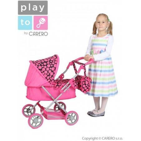 Hlboký kočík pre bábiky PlayTo Viola- ružový