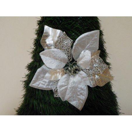 Vianočná ruža strieborná s priemerom 20 cm