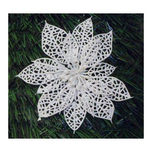 Vianočná ruža biela perleť s priemerom 14 cm