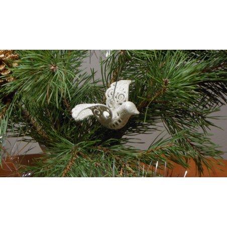 Biela perleťová dekorácia - Vtáčik