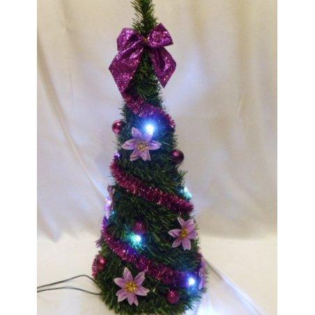 Svietiaci vianočný kužel - LED - zdobený - Fialový LED10 - 50 cm