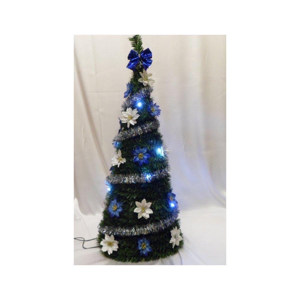 Svietiaci vianočný kužel - LED - zdobený - Modrý LED 70 cm