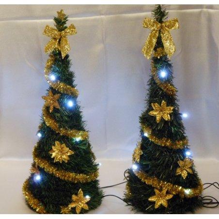 Svietiaci vianočný kužel - LED - zdobený - Zlatý LED10 - 50 cm