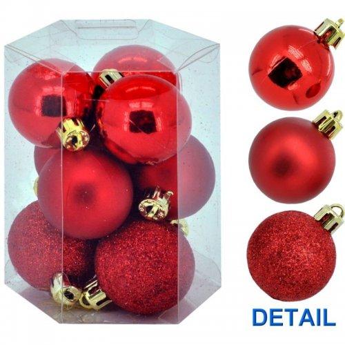 Vianočné  gule 9ks - Červené
