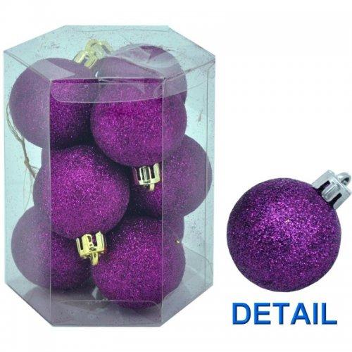 Vianočné  gule 9ks - Fialové