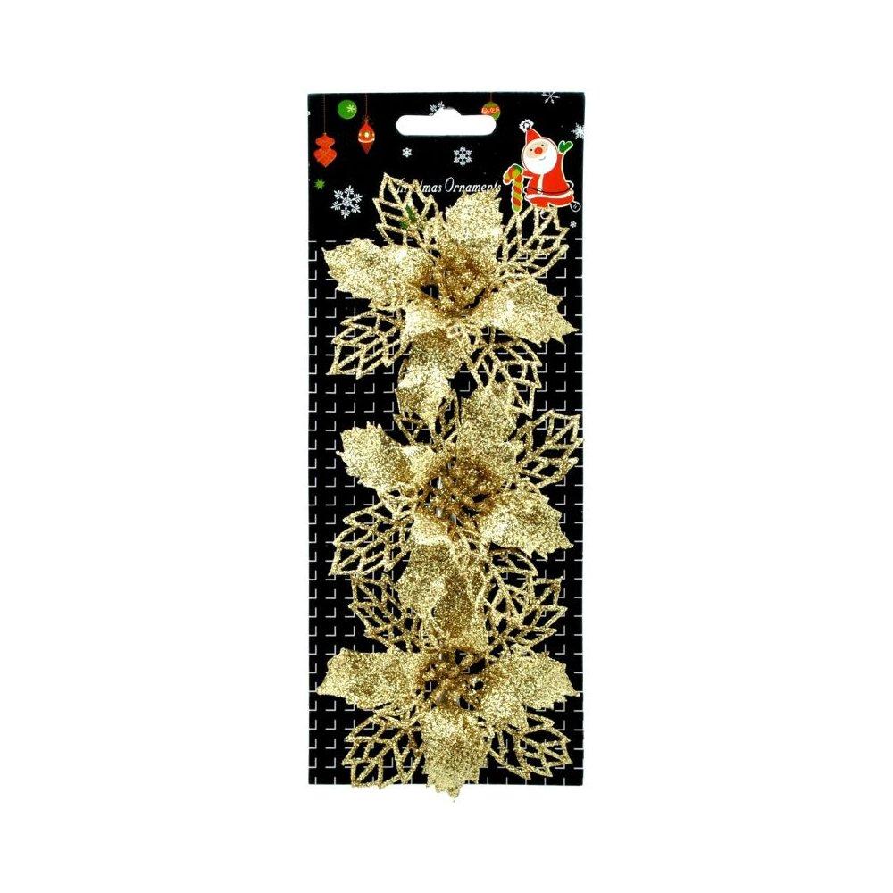 Vianočná ruža zlata na štipci s priemerom 8 cm
