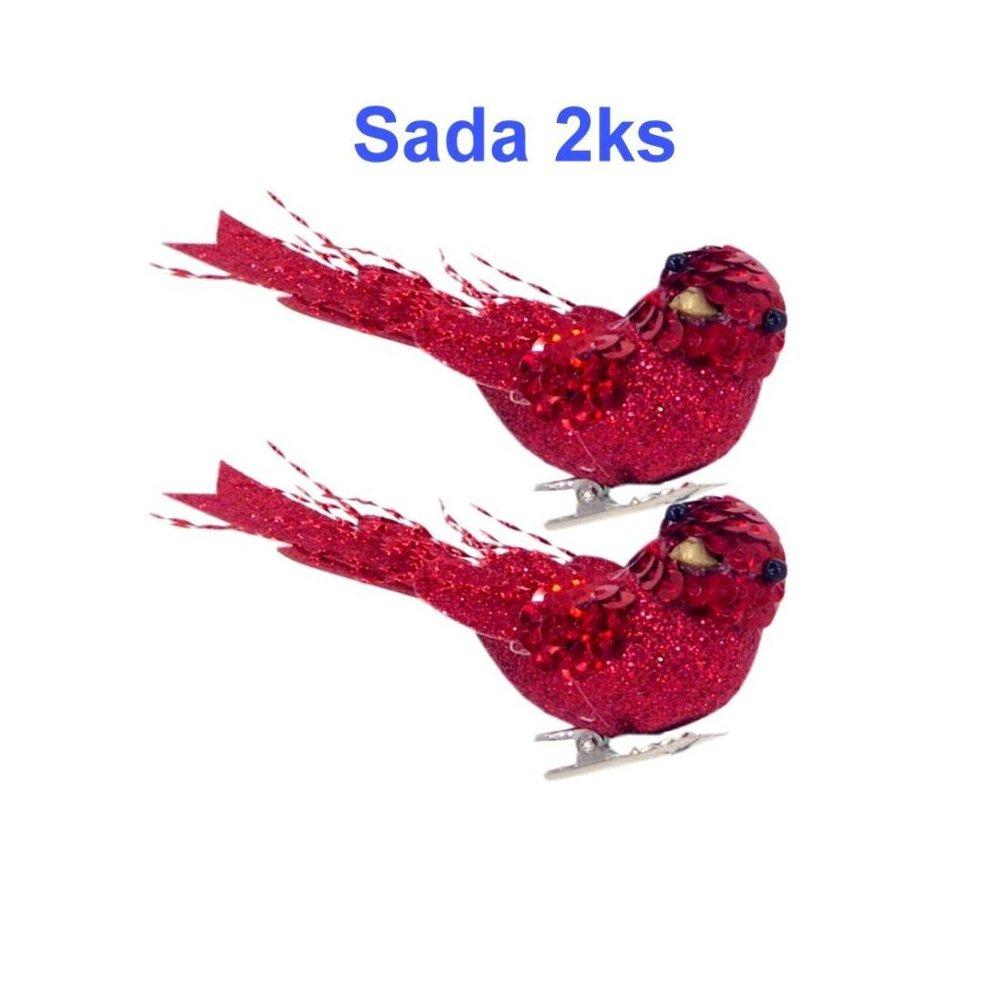 Červené dekoračné vtáča na štipci