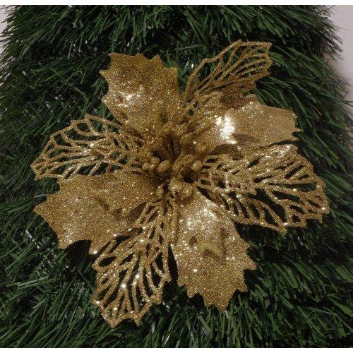 Zlatá vianočná ruža  s Ø 16 cm