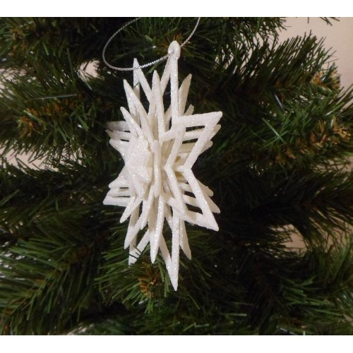 Biela perleťová 3D hviezda...